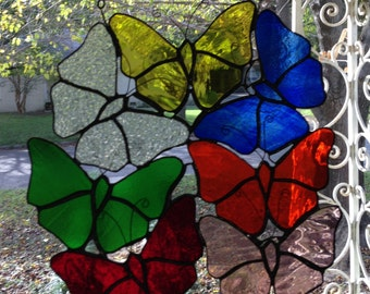 Stained Glass Window Suncatcher Butterfly Cluster - Butterfiles
