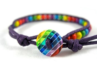 Gay Pride Bracelet, LGBT Rainbow Bracelet, Simple Lesbian Bracelet, Beaded Pride Jewelry