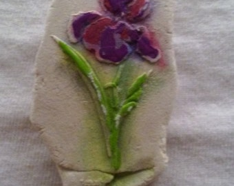 Handpainted orchid brooch. Plaster mold, rollover clasp