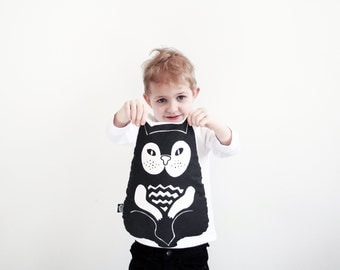 cute screen printed cotton cat pillow children kid stuffed animal toy black and white graphic design cushion