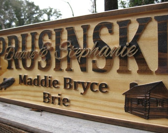 rustic anniversary gift family sign established last name sign custom wedding gift log cabin decor