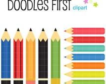 Fun Pencils Digital Clip Art for Scrapbooking Card Making Cupcake Toppers Paper Crafts