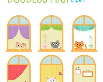 Cats And Windows Digital Clip Art for Scrapbooking Card Making Cupcake Toppers Paper Crafts