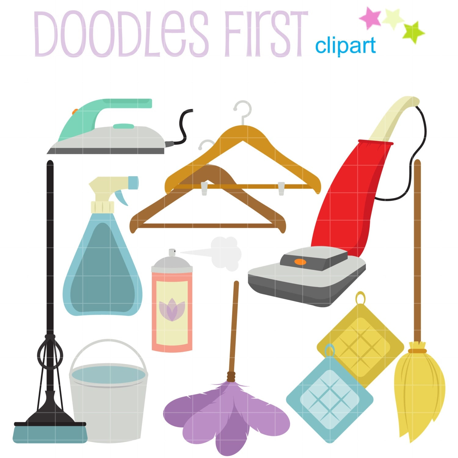 House Cleaning Digital Clip Art For Scrapbooking Card Making