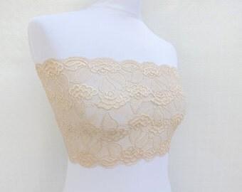 Elastic Floral Lace Bandeau Top. Lace Lingerie.