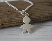 Silver boy necklace / sterling silver pendant / moms necklace / simple jewelry
