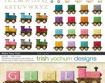 Choo Choo Train Clipart - Train Digital PNGs Photoshop - Christmas Birthday Baby Holiday - Make Your Own ClipArt - Instant Download
