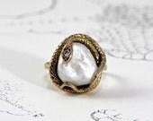 Victorian Snake Ring, Antique 14k Large Baroque Pearl & Diamond Serpent, Art Nouveau Eternity Knot, Ouroboros Boho Eternal Love Token Ring