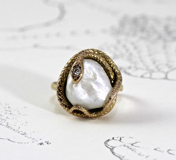 snake ring antique 14k large baroque pearl