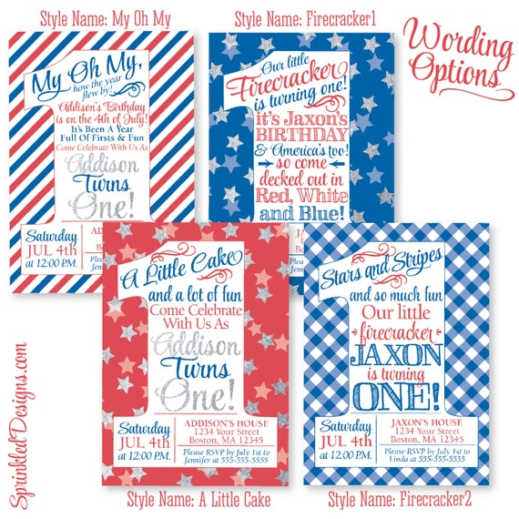 4th Birthday Party Invitation Quotes Of July First Boy Girl By