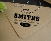 Custom rubber address stamp, retro address stamp, personalized stamper, 1.75 x 2 in. FREE SHIPPING!