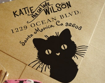 FREE SHIPPING! Custom rubber address stamp with cat, cat lady stamp, address stamp, cute cat address stamp