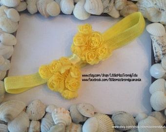 Yellow Bow Headband, Yellow Rosette Bow Headband, Toddler Headband, Baby Headband, Bow Headband, Infant Yellow Headband, Yellow bow headband