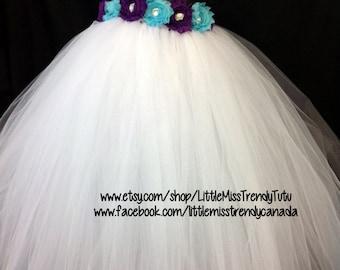 One Shoulder White Flower Girl Tutu Dress with Purple Turquoise Flowers, White Tutu Dress, Flower Girl Dress,  Party Dress, White Dress Girl