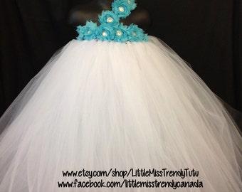 White Flower Girl Tutu Dress, White Turquoise Flower Girl Dress, White Tutu Dress, White Flower Girl Dress, White One Shoulder Tutu Dress
