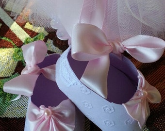 Set Of Ten Lavender And Pink Shoe Favors / Baby Shower Favors