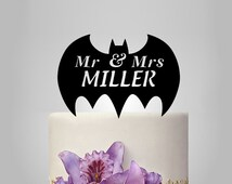 Mr and Mrs  Wedding Cake topper with batman silhouette, funny cake topper,  disney cake topper,  topper, personalized name cake topper