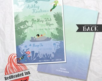 Disney Peter Pan Jungle Book Finding Nemo Baby Shower Invitation