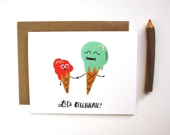 Let's Celebrate! Card - Illustrated Ice Cream Notecard