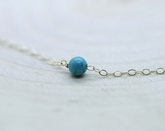 Tiny Turquoise Necklace / Turquoise on a Gold Filled or Sterling Silver Chain, Petite Everyday Jewelry