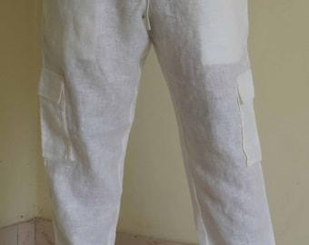 Mens Linen Beach Drawstring Cargo Pants in Narrow leg Trouser Style, Plus size