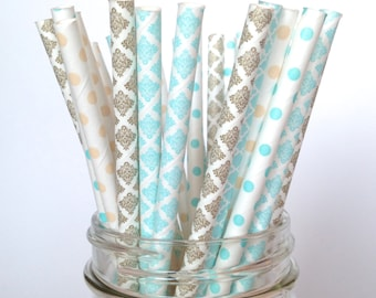 Gold blue paper straws multipack, cinderella party, boy baby shower straws light blue wedding decor, blue gold damask lace straws polka dots
