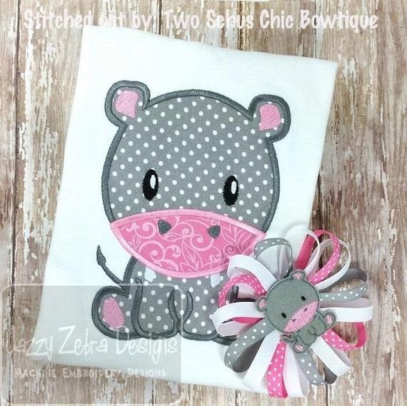 Hippo 53 Applique embroidery Design - zoo Applique Design - safari Applique Design - hippo Applique Design - baby Applique Design