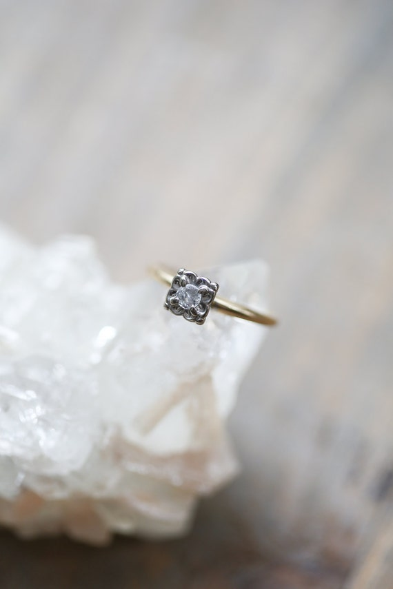 Vintage Dainty Engagement Ring Floral Diamond by AmuletteJewelry