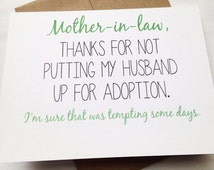 Mother in Law Card / Mother's Day Card / Mom Birthday Card / Funny Card / Card for Mother-in-Law / Mother's Day