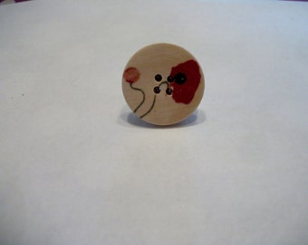 Poppy wooden button adjustable ring