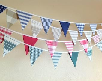 Bunting banner, fabric vintage banner, garland, banderines de tela, guirnalda vintage
