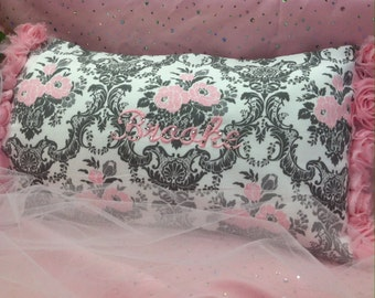 Pink Name Pillow, Personalized Girls Pillow, Kids Nap Pillow, Pink Pillow, Rhinestone Pillow, Personalized Girl Gift, Baby Girls Room
