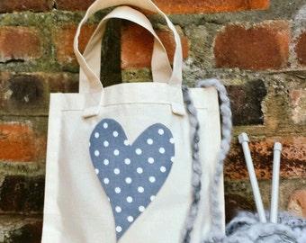 GRAY POLKA HEART Knitting Crochet Project Tote Shopping Canvas Bag Retro Handmade Fabric Gift