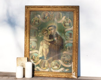 French vintage old gold frame with a picture of a monk, tableau d'un moine, brocante française