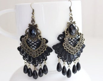 Black Lace and Antique Bronze Earrings