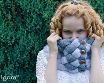 Luxury Knit Scarf, Woven Cowl, Chunky Cowl Neck Warmer, Winter Shawl