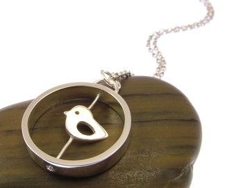 Sterling Silver Spinning Baby Chick Necklace - Chick Jewellery - Spinning Necklace - Spring Jewellery