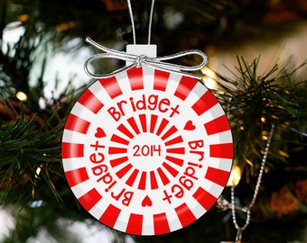 personalized christmas ornament peppermint candy holiday ornament CCCO