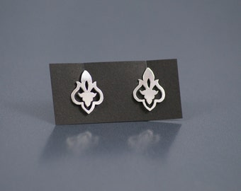 Fleur Studs - Hand Cut Sterling Silver Earrings