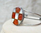 Coral and mother of pearl Cross Bracelet // Coral and abalone cuff // red and white bracelet