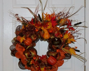 Fall Thanksgiving Mesh Wreath with Gourds