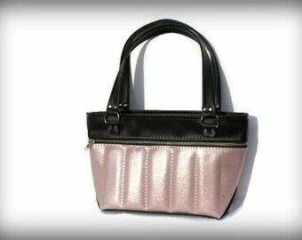 Sample SALE! Pink Glitter Vinyl Purse - IN STOCK - Femme Fatale Handbags Inc, Pinup Style, Viva Las Vegas, Upholstery Vinyl, Metal Fake