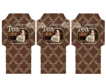 FAVORITE TEA -  Printable Download Digital Collage Sheet Tea Bag Holder Envelopes - Paper Cut Template
