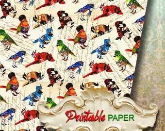 FANNY BIRDs  - Printable wrapping paper for Scrapbooking, Creat - Download and Print