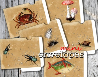 NATURE - Printable 6 Mini Envelopes Journal pockets realistic water drops Download Digital Collage Sheet  - Print and Cut