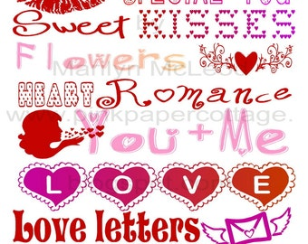 Digital Printable Valentine's Subway Art (2) INSTANT DOWNLOADS to frame, for cards, altered art or tags, high resolution JPG image.