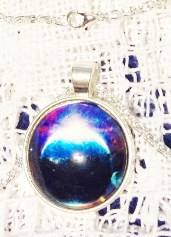 Dark Planet Galaxy Necklace White Jewelry Gift
