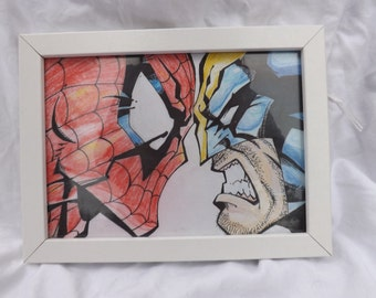"Handdrawn Wolverine and Spiderman ""Face Off"" ORIGINAL"
