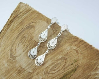 "Intricate handmade silver filigree long earrings, bridal earrings, classic ""Three Drops"""