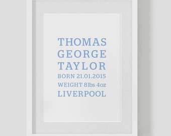Personalised birth announcement baby boy — Christening name date weight print / poster — Nursery Art — FREE WORLDWIDE SHIPPING
